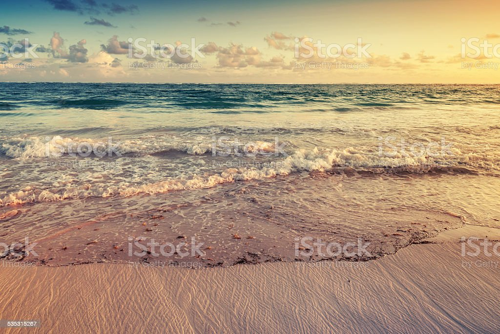 Colorful sunrise landscape on Atlantic ocean coast stock photo
