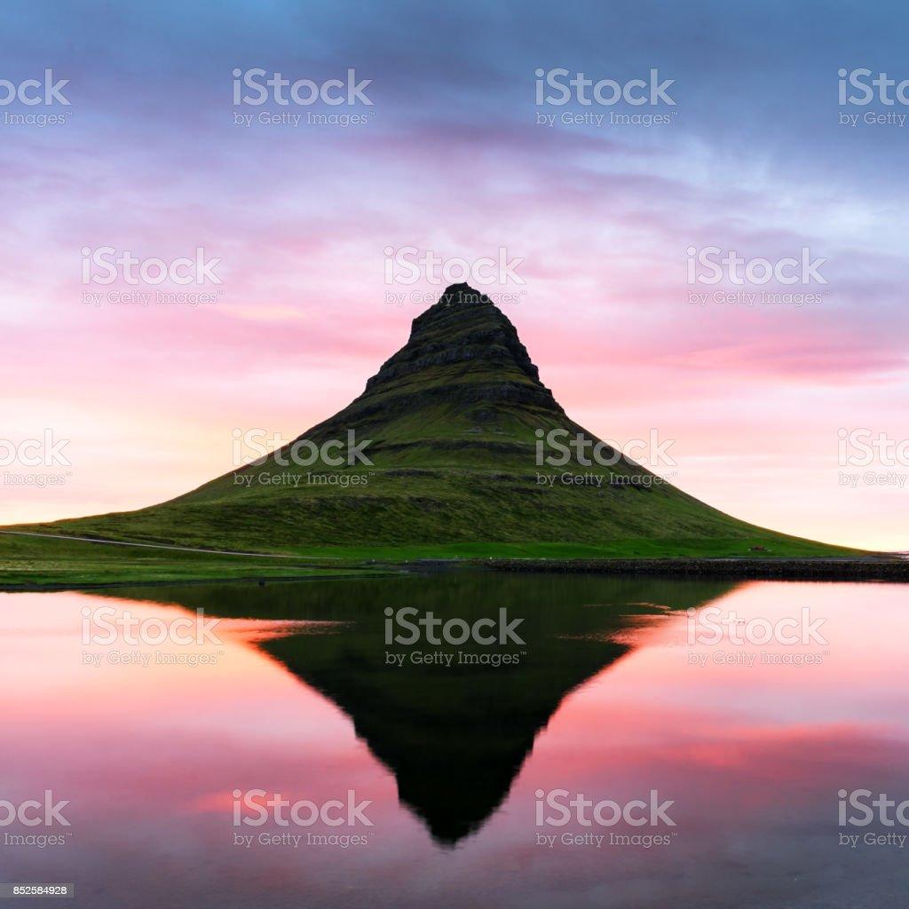 Colorful sunrise on Kirkjufellsfoss waterfall stock photo