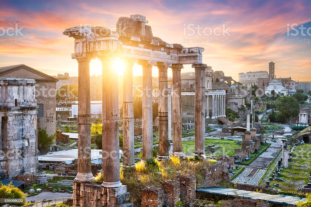 Colorful sunrise on the Roman Forum in Rome stock photo