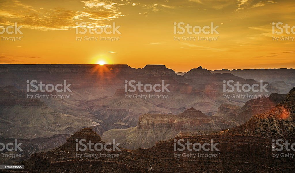 colorful Sunrise seen from Mathers Point at the Grand Canyon royalty-free stock photo