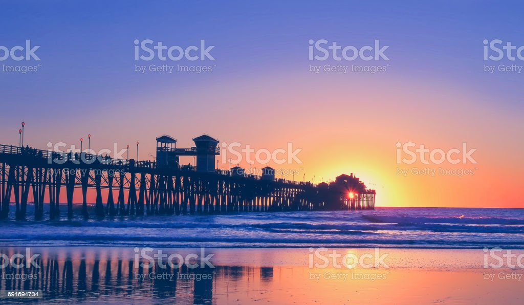 Colorful Sunset at beach stock photo