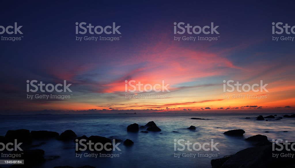 Colorful sunset at Tai O Hong Kong China royalty-free stock photo