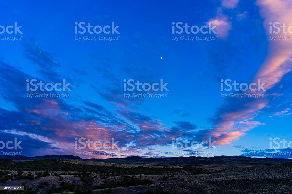 Colorful Sunset Castle Peak stock photo