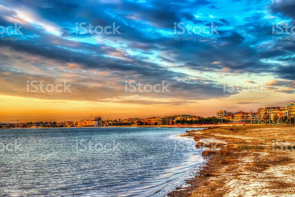 colorful sunset in Alghero stock photo