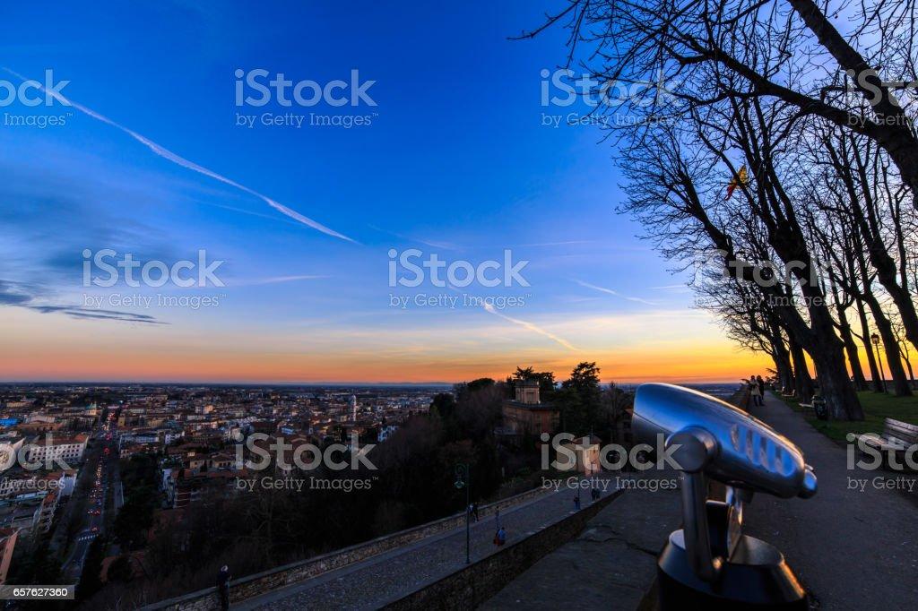 colorful sunset in Bergamo stock photo