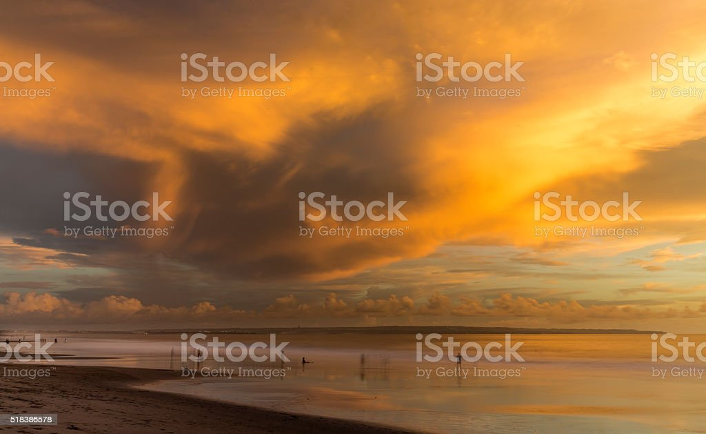 Colorful sunset in Kuta beach in Bali stock photo