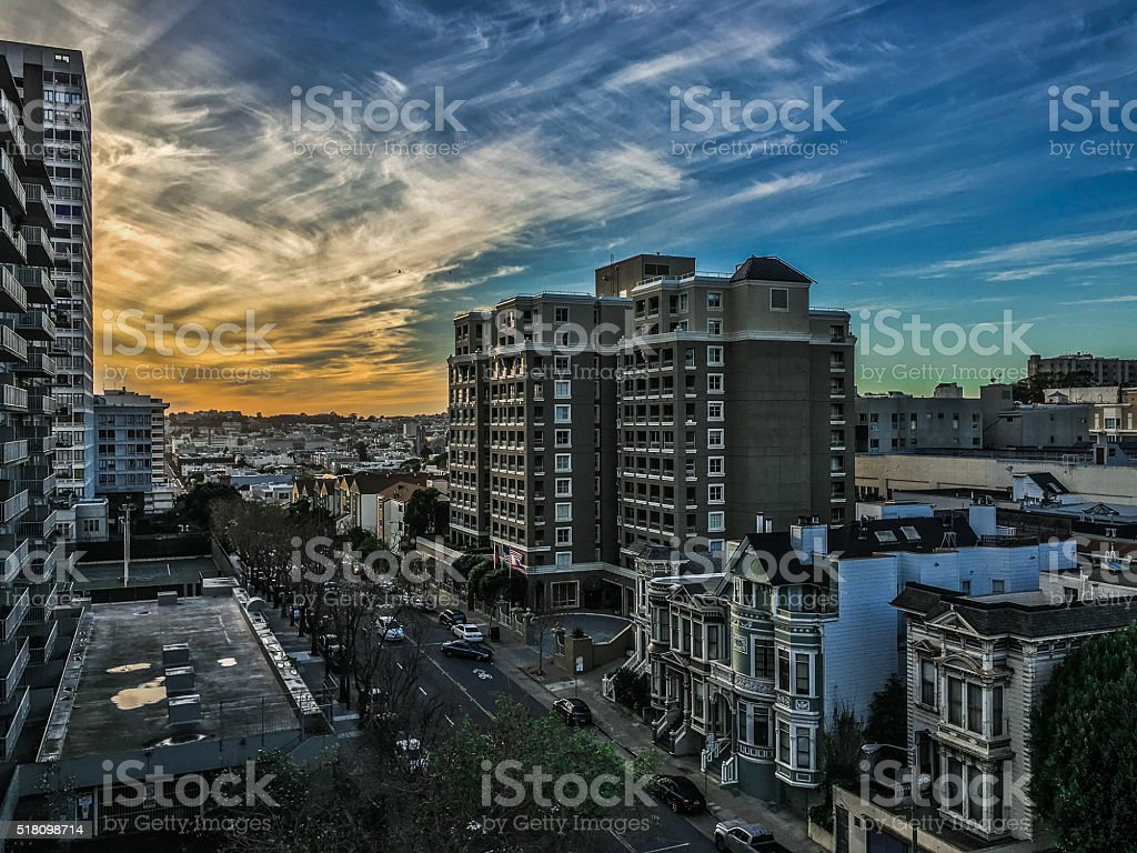 Colorful sunset in San Francisco stock photo