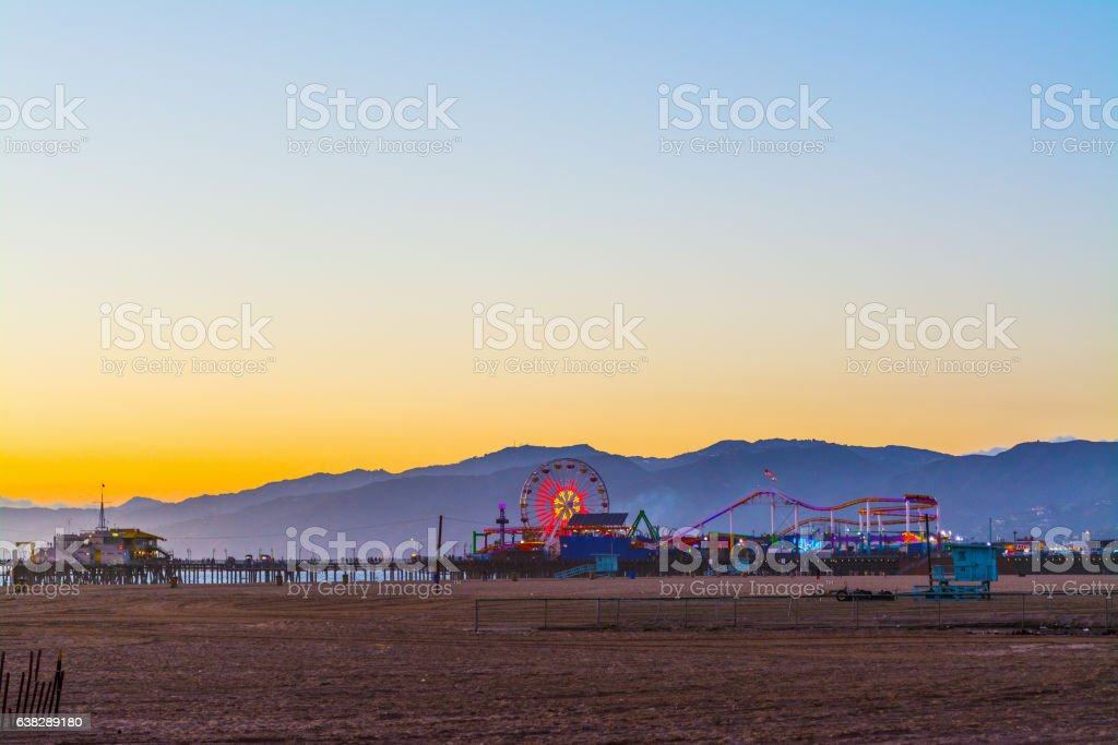 Colorful sunset in Santa Monica stock photo