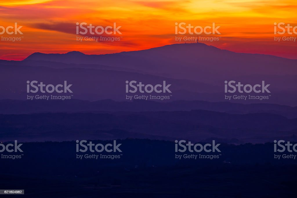 Colorful sunset layers of Prigorje region stock photo