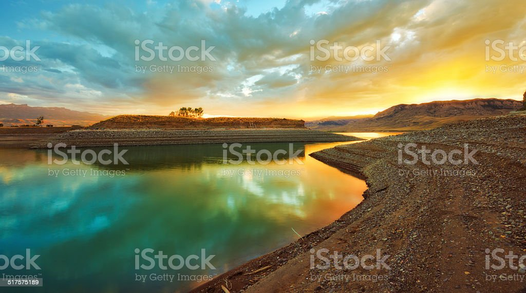 Colorful Sunset Near Water stock photo