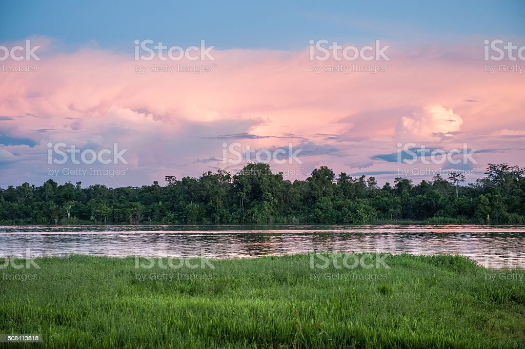 Colorful sunset on river stock photo