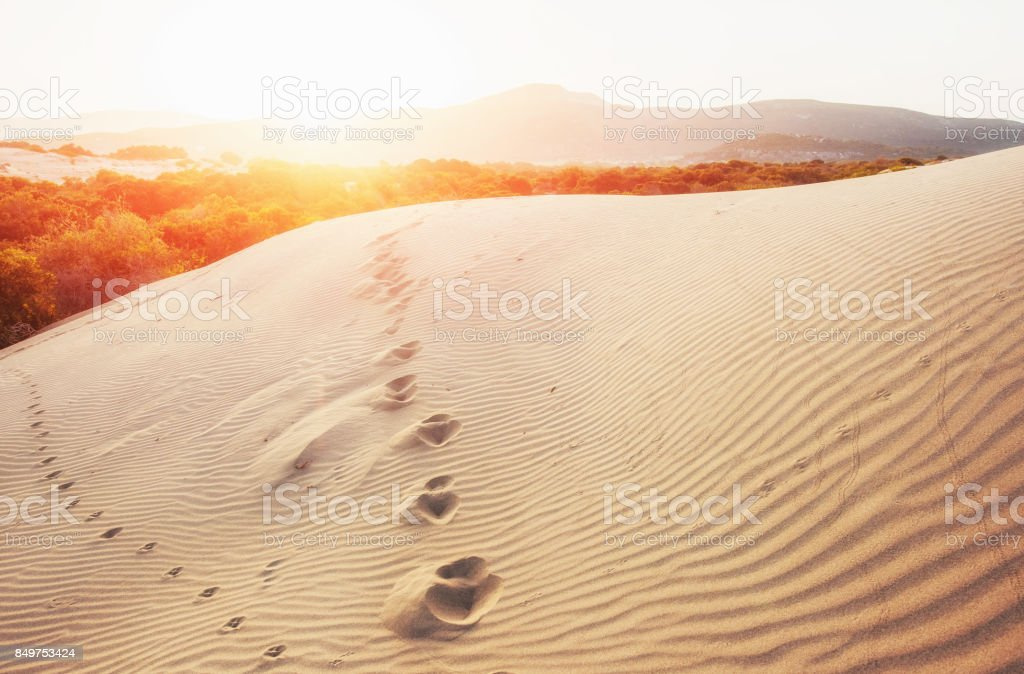 Colorful sunset over mysterious desert in Turkey stock photo