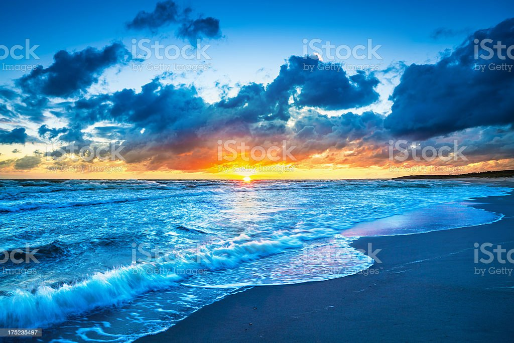 Colorful Sunset Over the wavy Ocean - XXXL HDR Image royalty-free stock photo