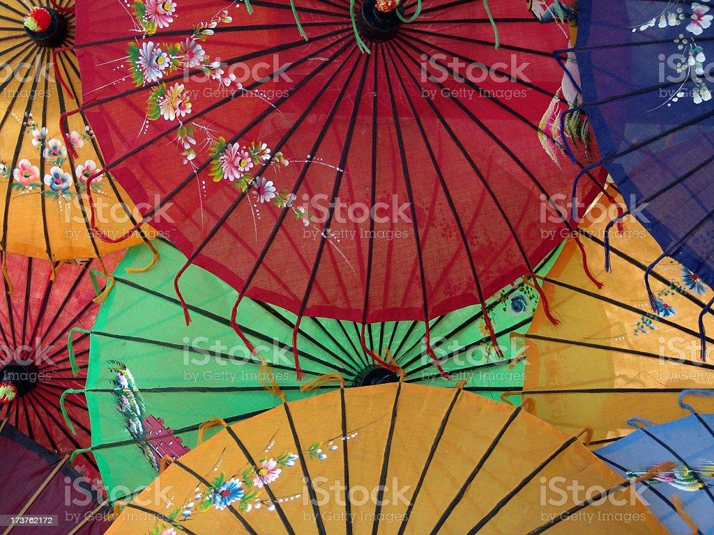 Colorful sunumbrellas in asia stock photo