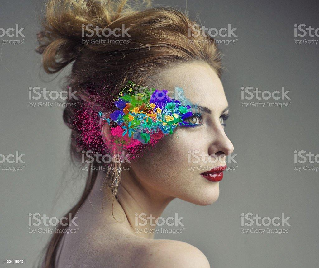 Colorful sureal make up stock photo