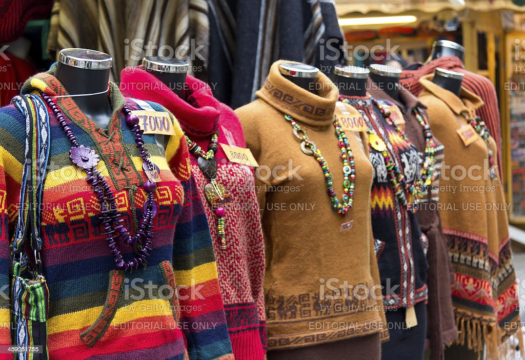 Colorful sweaters and ponchos royalty-free stock photo