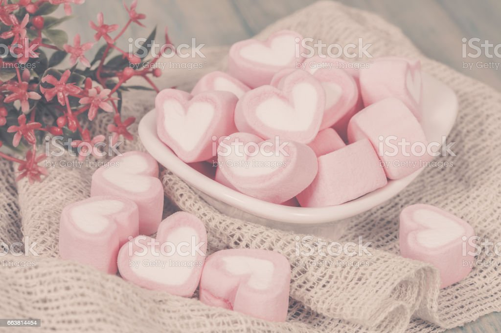Colorful sweet marshmallow  in a white-ware stock photo
