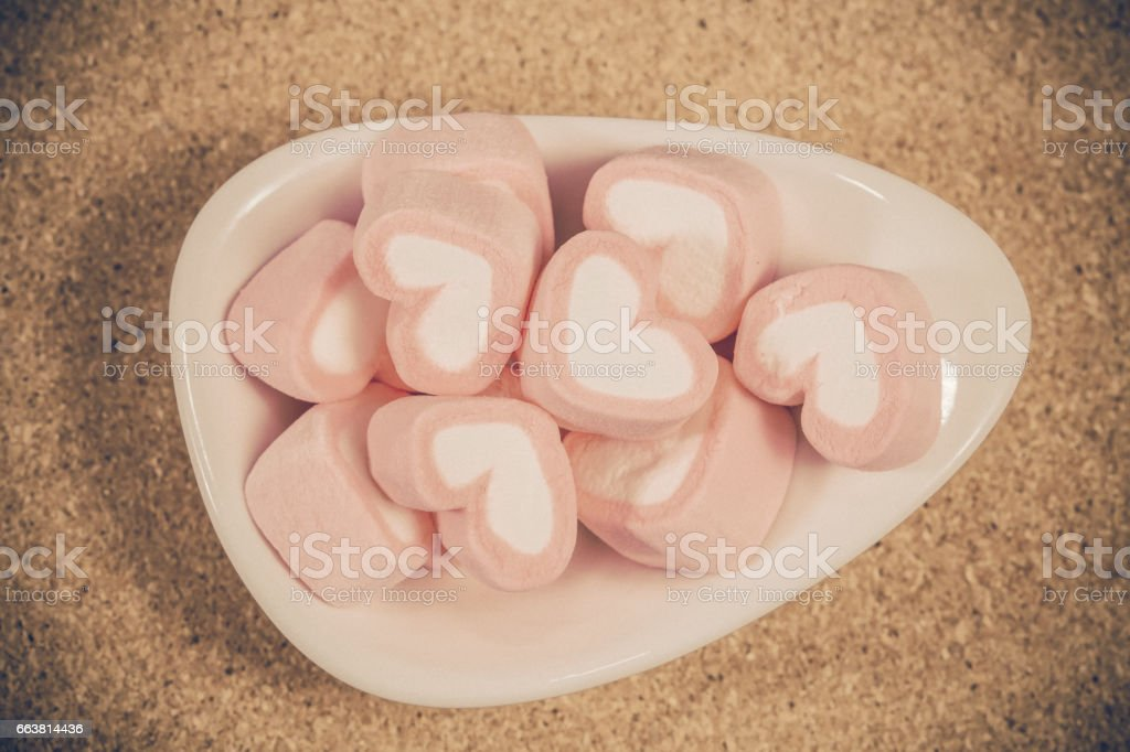 Colorful sweet marshmallow  in a white-ware.selective stock photo