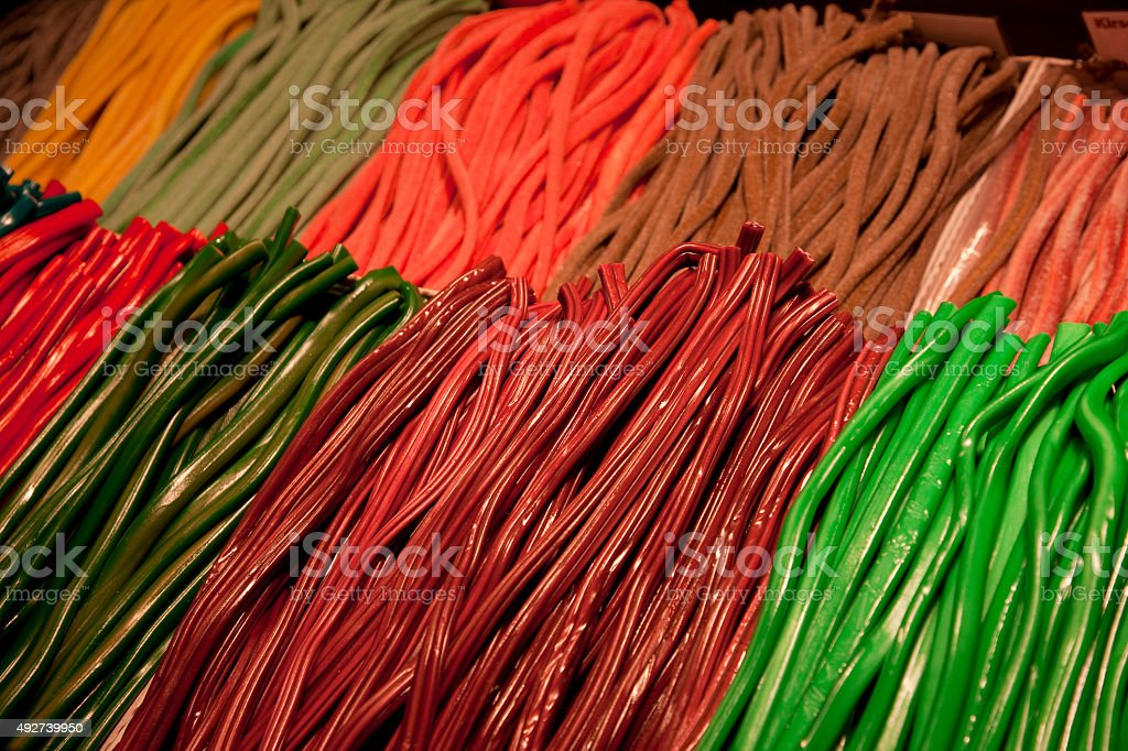Colorful sweets from Christmas Market, Frankfurt, Germany stock photo