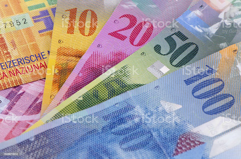 Colorful Swiss franc bank notes stock photo