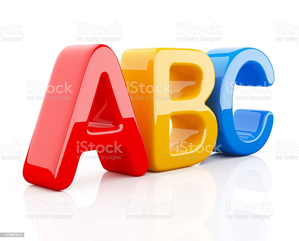 Colorful symbols of alphabet 3D. Isolated royalty-free stock photo