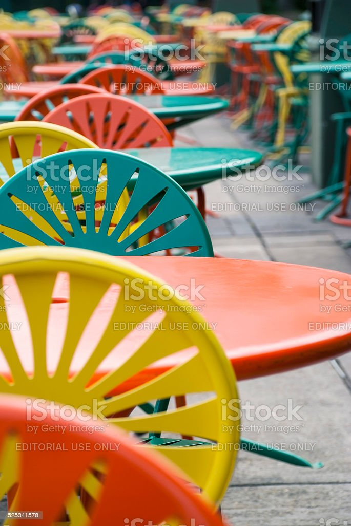 Colorful Tables and chairs stock photo