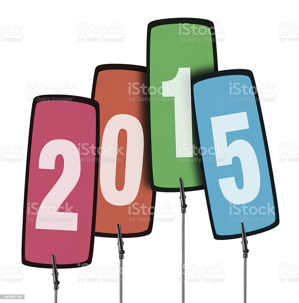 2015 Colorful Tag in Wire Clamp 4 (Clipping Path) stock photo