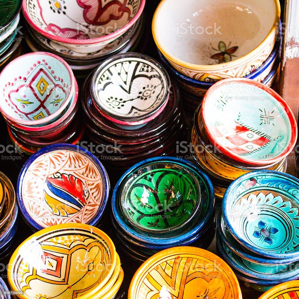 Colorful Tagine -ceramic tajine dish. stock photo