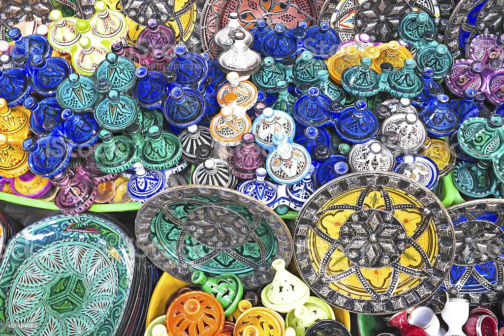 Colorful tajines for sale in a market stall Morocco royalty-free stock photo
