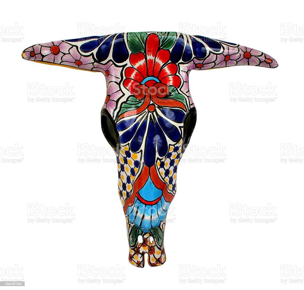 Colorful Talavera Cow Skull stock photo
