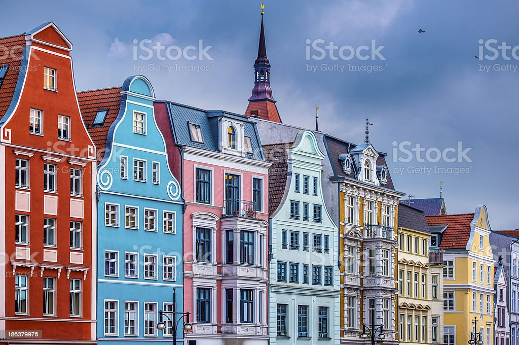 Colorful tall houses in Rostock, Germany stock photo