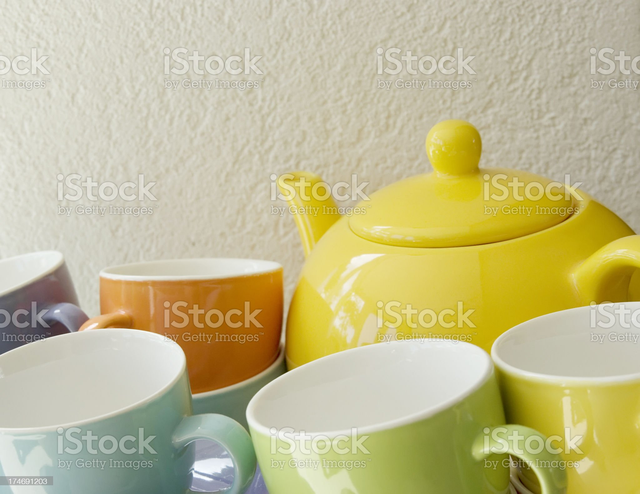 Colorful Tea Set royalty-free stock photo
