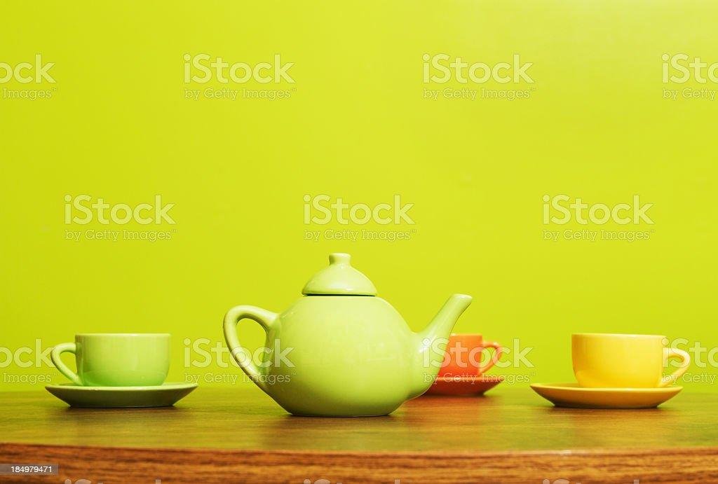 Colorful Tea Set royalty-free stock photo