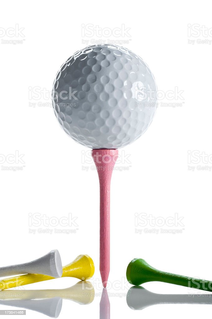 Colorful Tees and Golf Ball royalty-free stock photo