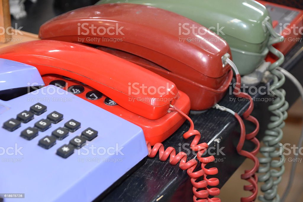 Colorful telephone from the eighties stock photo