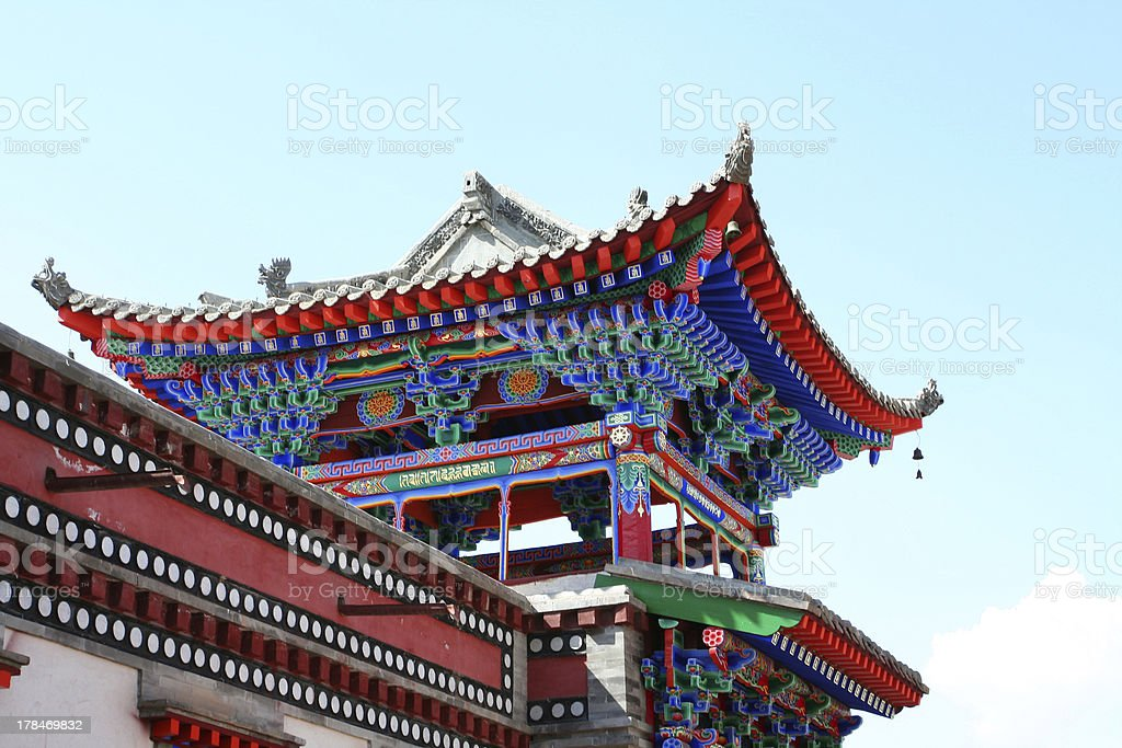 Colorful temple architecture at Kumbum Monastery stock photo