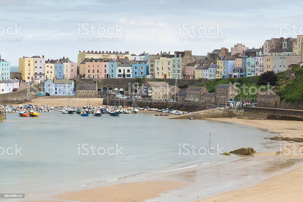 Colorful Tenby stock photo