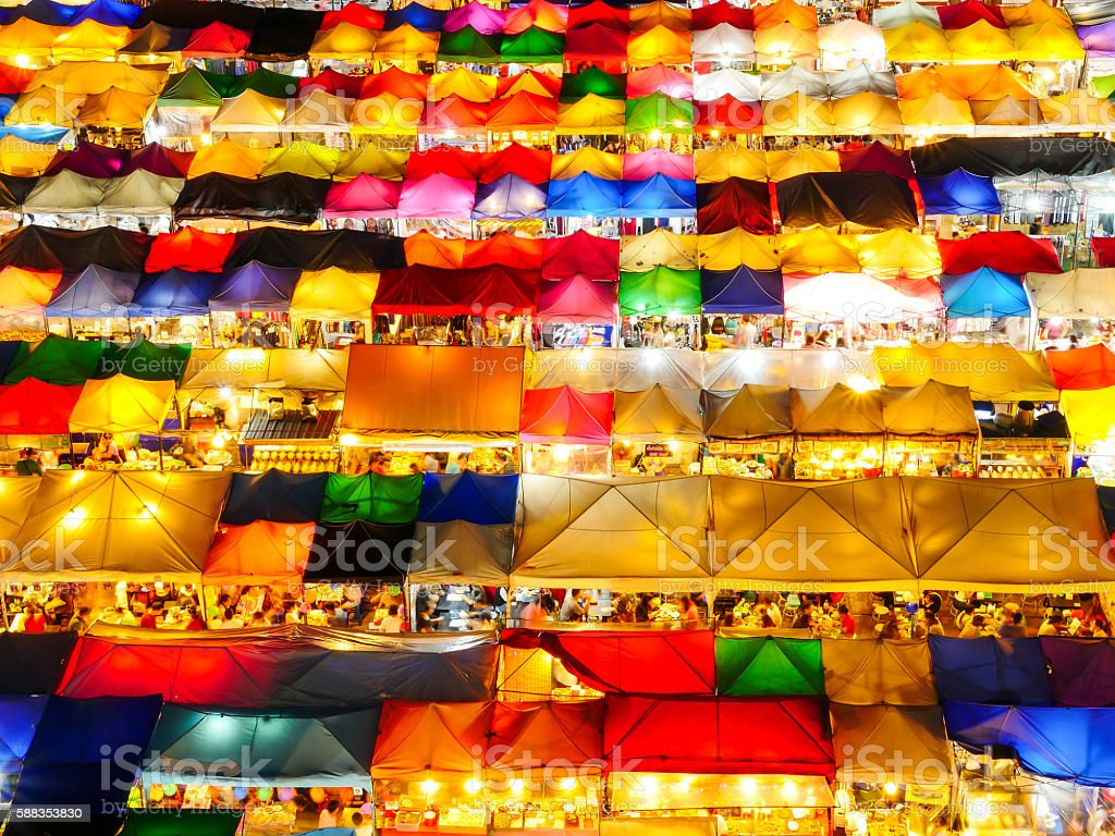 Colorful tent retail shop at night 1 stock photo