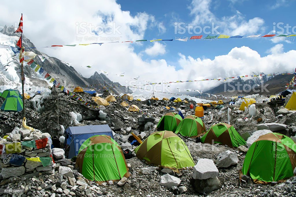 Colorful Tents at Everest Base Camp, Everest Region, Nepal stock photo