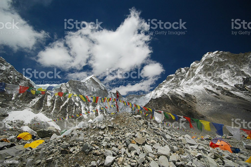 Colorful tents pitched at Everest base camp, Nepal Himalayas stock photo