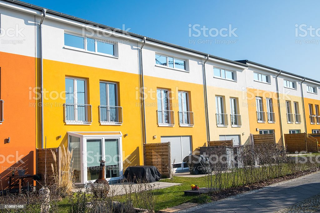 Colorful terraced housing in Berlin stock photo