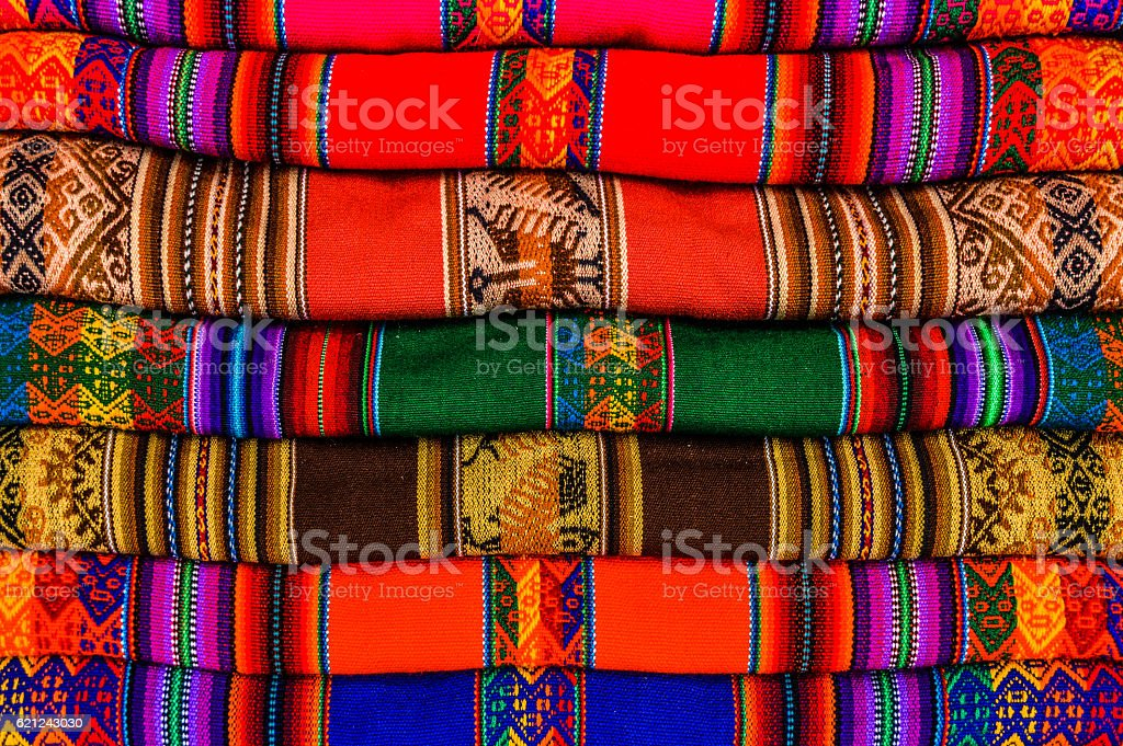 Colorful textiles from Peru stock photo