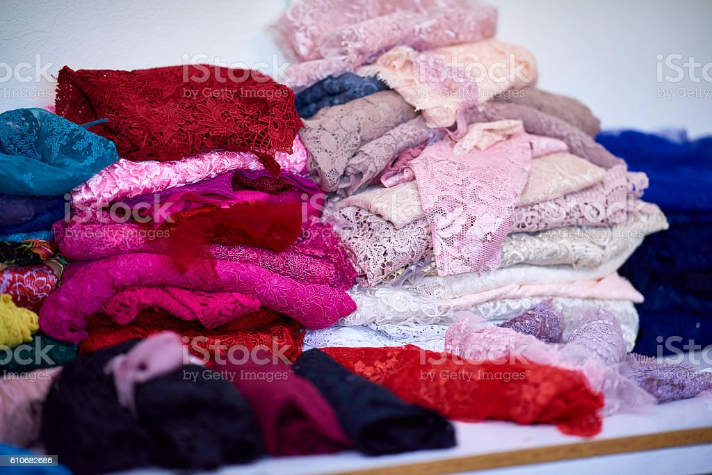 colorful textiles stack stock photo
