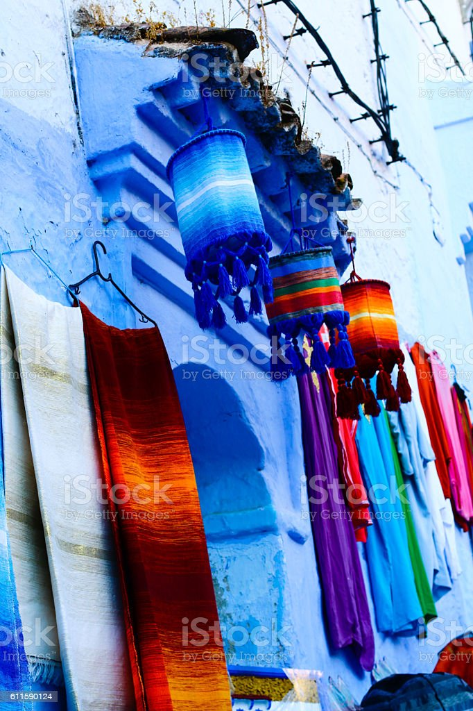 Colorful texture - blue, Morocco stock photo