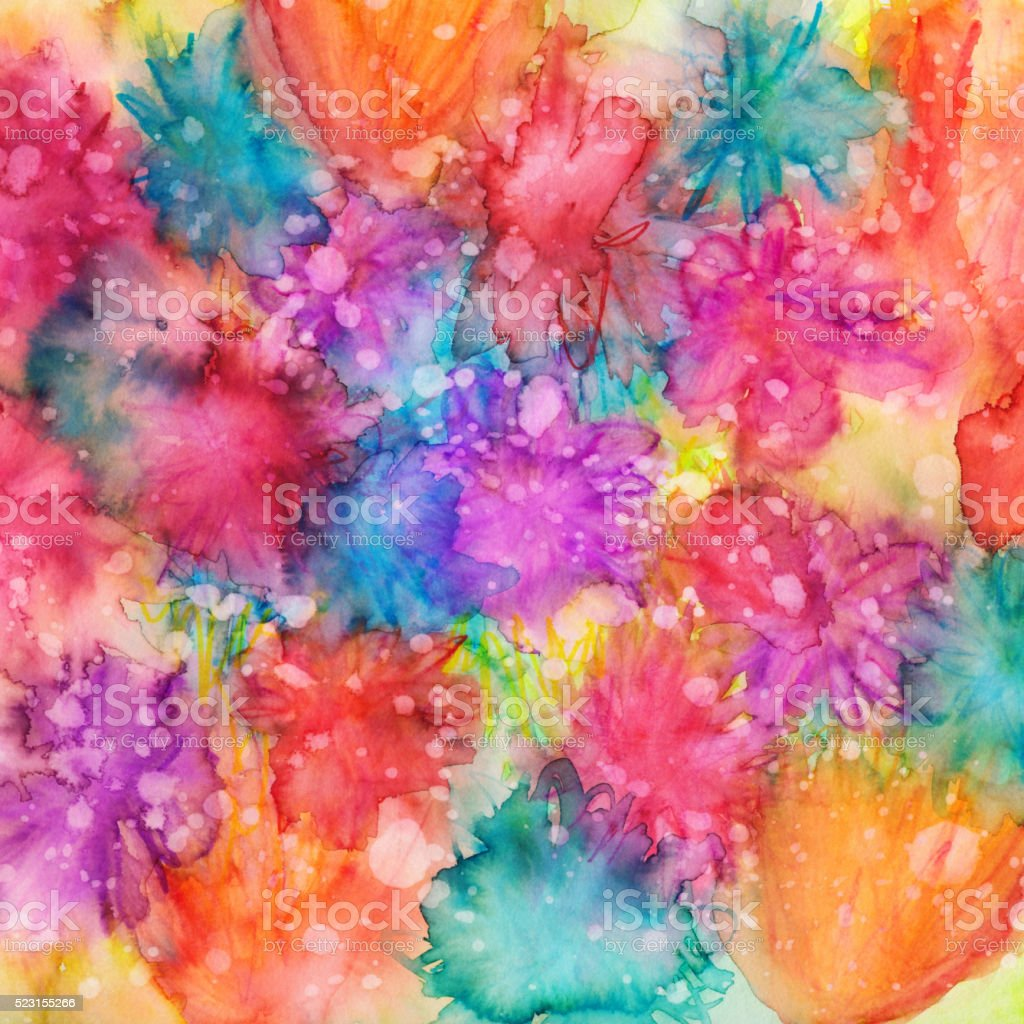 Colorful textured background hand painted with watercolor and ink stock photo