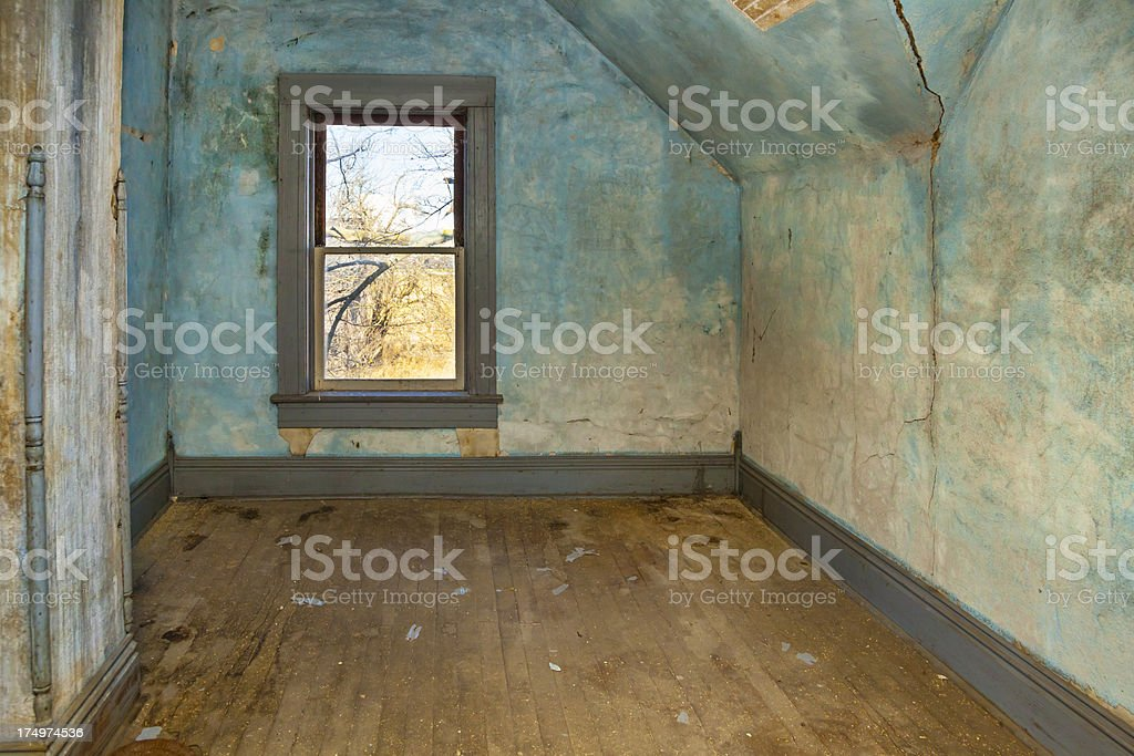 Colorful, Textured Room in Old, Abandoned House stock photo