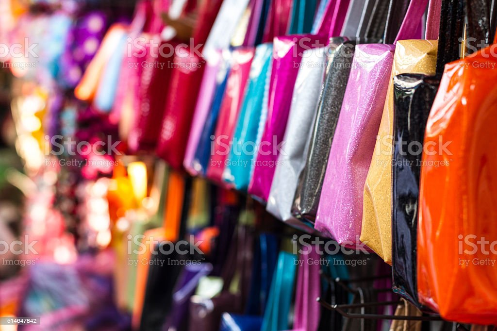 Colorful Thai bag in a market in Bangkok stock photo