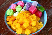 Colorful thai dessert, thai sweets in the tray