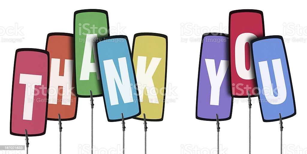 Colorful Thank You Tag  in Wire Clamp (Clipping Path) royalty-free stock photo