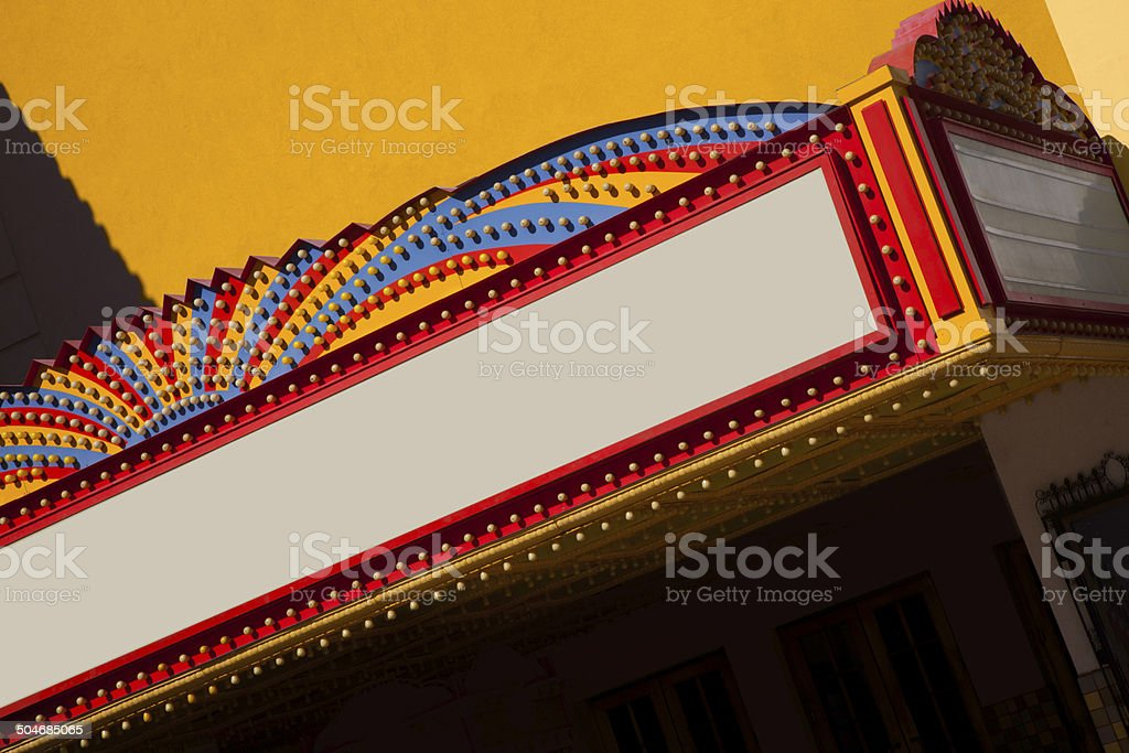 Colorful Theatre Marquee with copy space stock photo